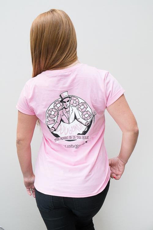 Women's Voodoo Doughnut Pink T-Shirt -- Back