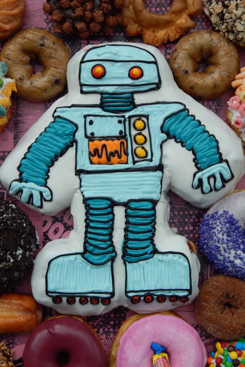 Robot Doughnut Centerpiece with other doughnuts