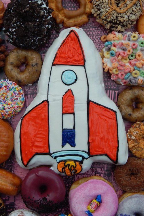 Space Ship Centerpiece Doughnut with more doughnuts around it