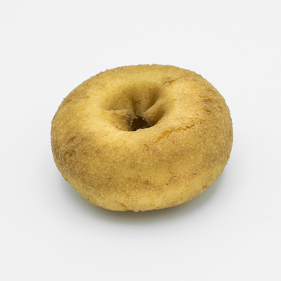 Image of a plain cake doughnut; smaller and denser and darker brown.